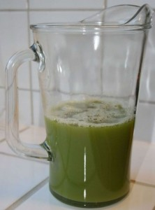 Celery juice in jar